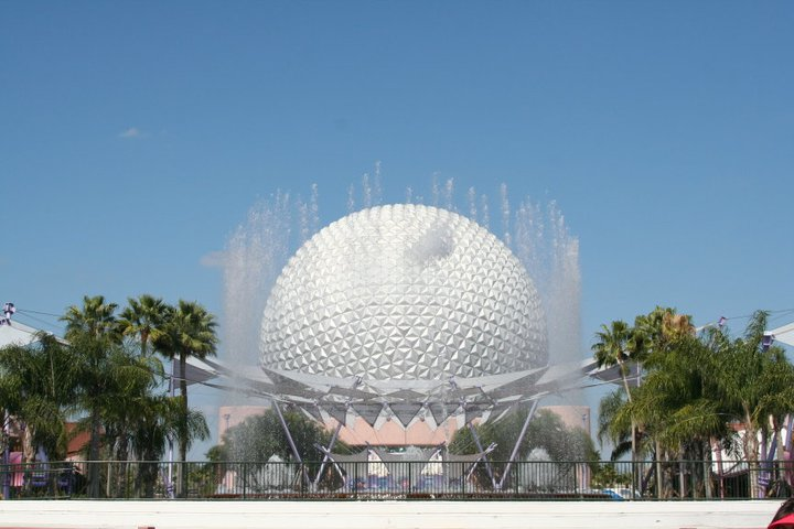 The iconic Spaceship Earth at the entrance to EPCOT in Florida.
